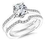 Valina Bridals Mounting with side stones .23 ct. tw., 1 ct. round center.