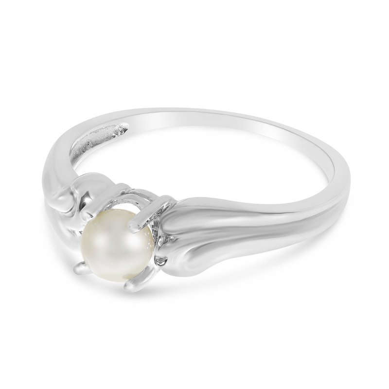 Color Merchants 10k White Gold Freshwater Cultured Pearl Ring