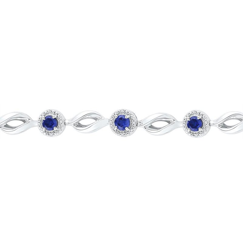 Kingdom Treasures Sterling Silver Womens Round Lab-Created Blue Sapphire Tennis Bracelet 3-1/4 Cttw