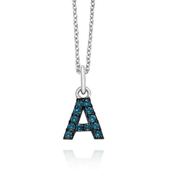 "14K Gold and Blue Diamond Initial ""C"" Necklace"