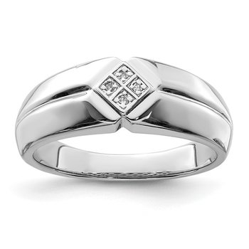 Sterling Silver Rhodium Diam. Men's Ring