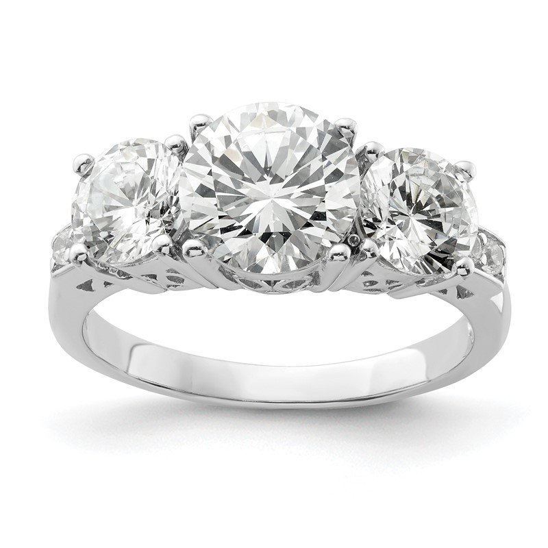 Quality Gold Sterling Silver Rhodium-plated 3 Stone CZ Ring