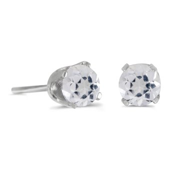14k White Gold 4 mm Round White Topaz Stud Earrings