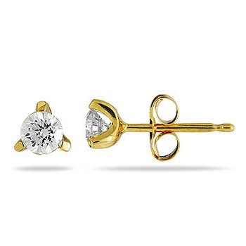 14K YG Diamond Trinity Solitaire Earring Studs TDW 3/4 Cts