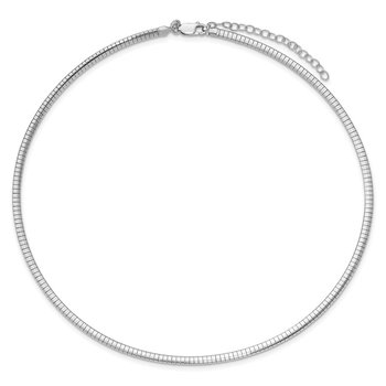 Sterling Silver Rhodium-plated 3.25mm w/2in. Ext Cubetto Chain