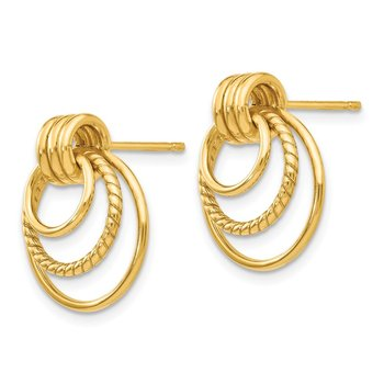 14k Polished and Textured Fancy Post Earrings