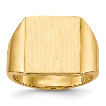 14k 15.0x13.5mm Open Back Mens Signet Ring