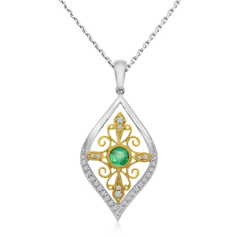 14KTwo Toned Teardrop Emerald and Diamond Pendant