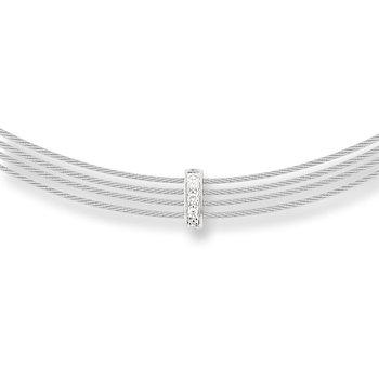 Grey Cable 4 Row Choker Necklace with 18kt White Gold & Diamonds