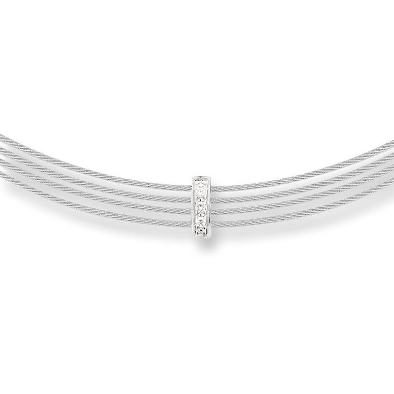 ALOR Grey Cable 4 Row Choker Necklace with 18kt White Gold & Diamonds