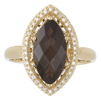 Smoky Quartz and Diamond Fashion Ring