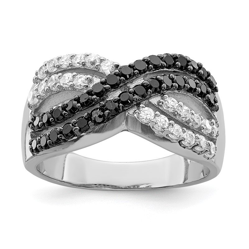 Quality Gold Sterling Silver Rhodium Black and Clear CZ X Ring
