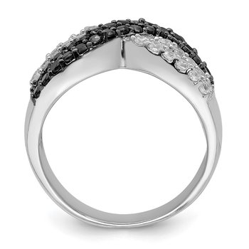Sterling Silver Rhodium Black and Clear CZ X Ring