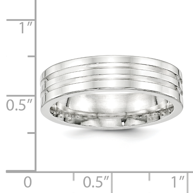 Bridal Wedding Bands Fancy Bands SS 6mm Polished Fancy Band Size 10 Size 12.5
