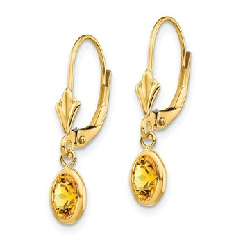 14k 6x4 Oval Bezel November/Citrine Leverback Earrings