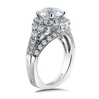 Halo Engagement Ring Mounting in 14K White Gold with Platinum Head (1.21 ct. tw.)