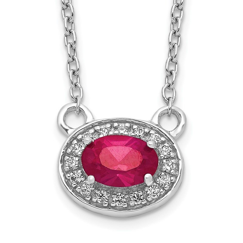 Quality Gold 14k White Gold Diamond and Oval Ruby 18 inch Necklace