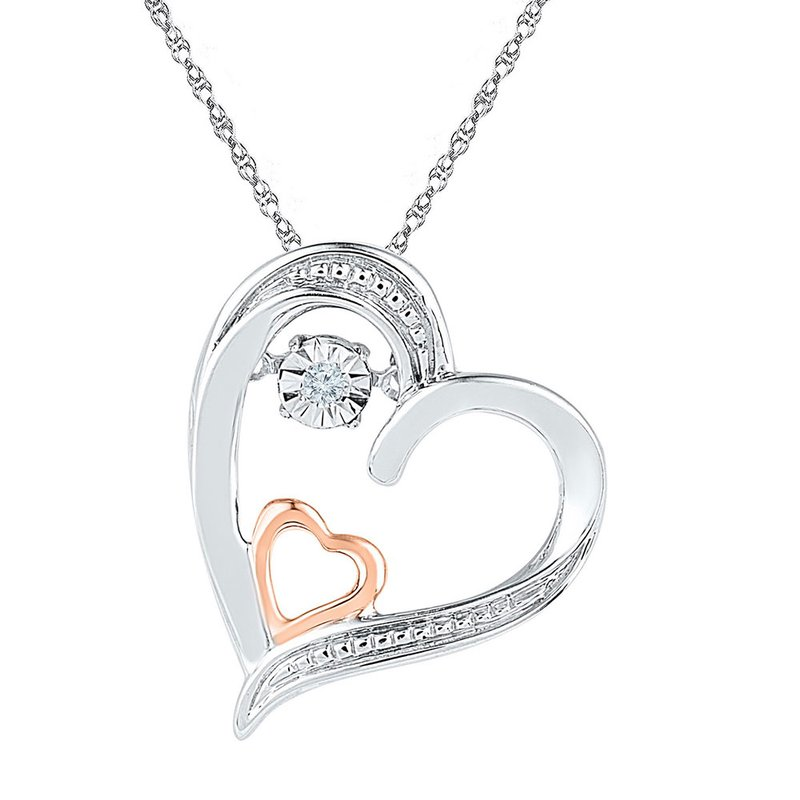 Gold-N-Diamonds, Inc. (Atlanta) 10kt Two-tone Gold Womens Round Diamond Double Heart Moving Twinkle Pendant .01 Cttw