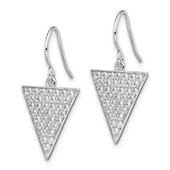 Sterling Silver Rhodium-plated CZ Triangle Dangle Earrings