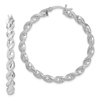 Sterling Silver Rhodium Plated Twisted 3.5x45mm Hoop Earrings
