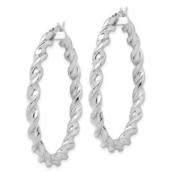Sterling Silver Rhodium Plated Twist 3.5x45mm Hoop Earrings