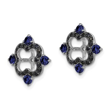 Sterling Silver Rhodium Created Sapphire & Black Sapphire Earring Jacket