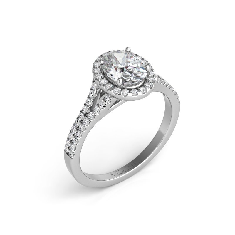 S. Kashi & Sons Bridal White Gold Oval Engagement Ring