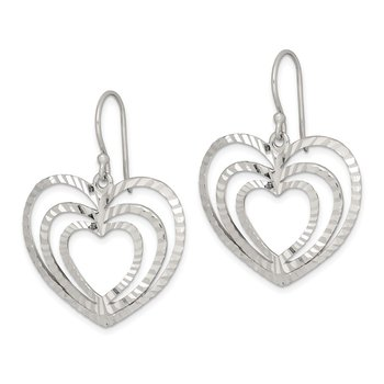 Sterling Silver Diamond-cut Heart Dangle Earrings