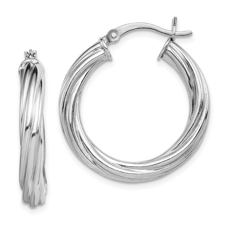 Quality Gold Sterling Silver Rhodium-plated Twist 4x25mm Hoop Earrings