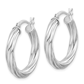 Sterling Silver Rhodium-plated Twisted 4x25mm Hoop Earrings