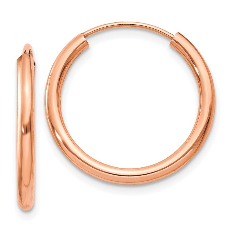 Quality Gold 14k Rose Gold Polished Round Endless 2mm Hoop Earrings