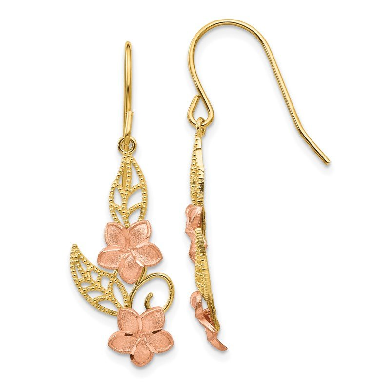 Quality Gold 14K Two-tone Fancy Plumeria Dangle Earrings