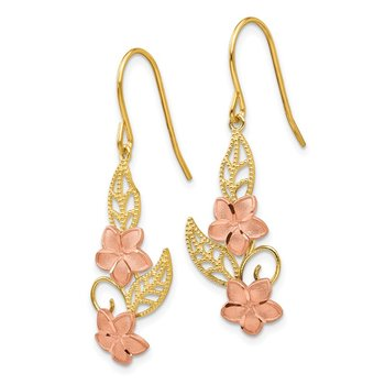 14K Two-tone Fancy Plumeria Dangle Earrings