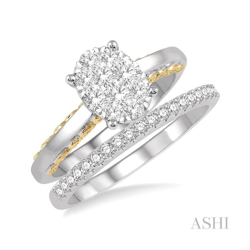 ASHI oval shape lovebright bridal diamond wedding set