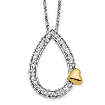 Sterling Silver & Gold-plated CZ A Tear of Love 18in Necklace