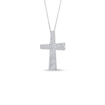 18KT GOLD LARGE CROSS PENDANT WITH DIAMONDS