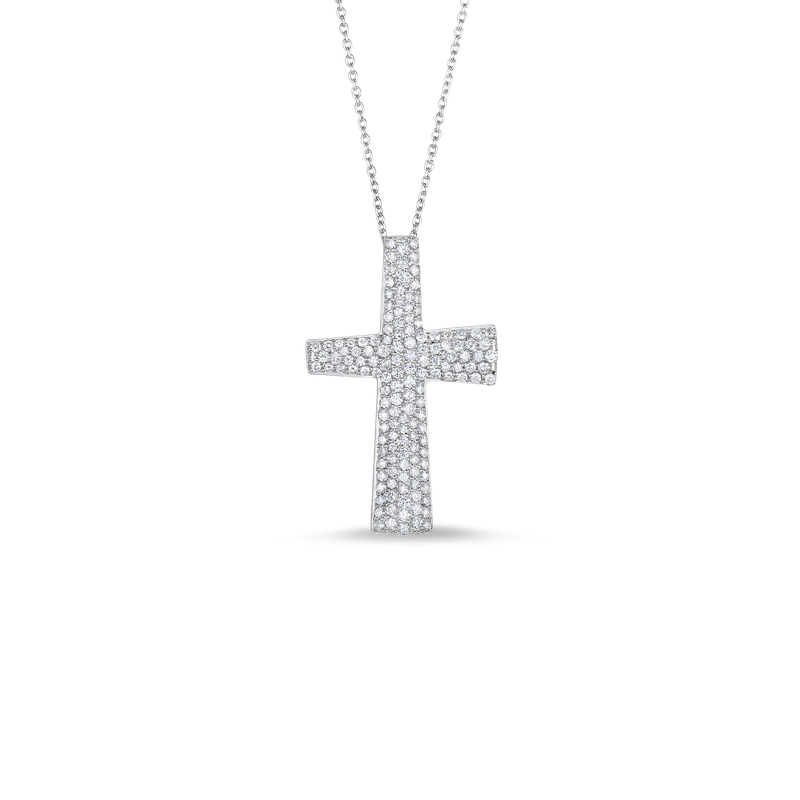 Roberto Coin 18Kt Gold Large Cross Pendant With Diamonds