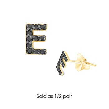"Black Diamond Single Initial ""E"" Stud Earring (1/2 pair)"
