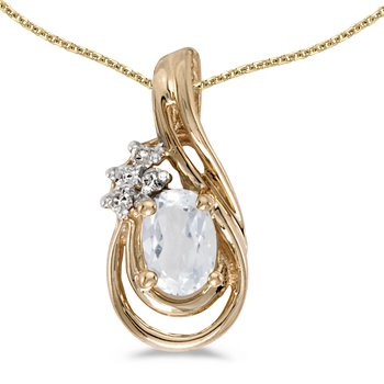 14k Yellow Gold Oval White Topaz And Diamond Teardrop Pendant