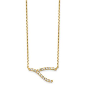 14K Wishbone CZ with 2IN EXT Necklace