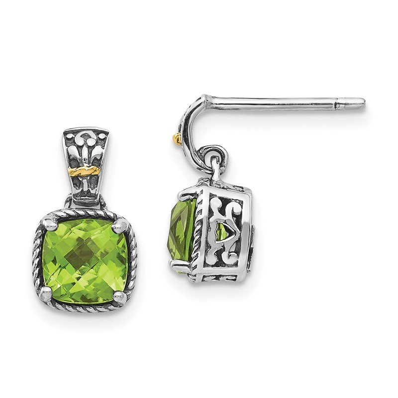 Quality Gold Sterling Silver w/14k Peridot Dangle Post Earrings