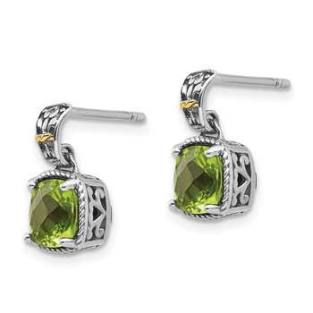 Sterling Silver w/14k Peridot Dangle Post Earrings