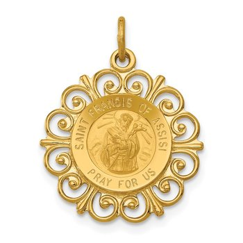 14k Saint Francis of Assisi Medal Pendant