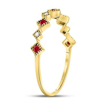 10kt Yellow Gold Womens Round Ruby Diamond Milgrain Square Stackable Band Ring 1/8 Cttw