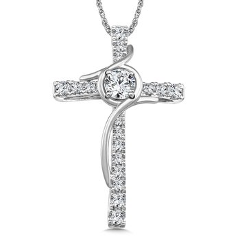 Diamond Cross Pendant in 14K White Gold (0.99 ct. tw.)