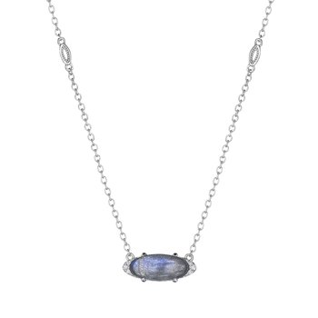 Solitaire Oval Gem Necklace with Labradorite