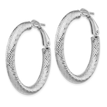 14k 4x25mm White Gold Diamond-cut Round Omega Back Hoop Earrings