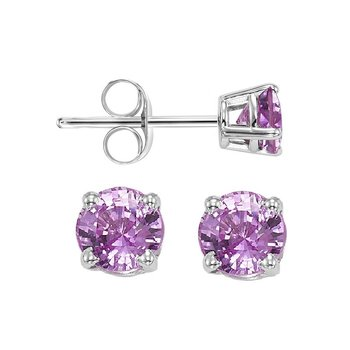 Four Prong Pink Sapphire Studs in 14K White Gold (5 MM)