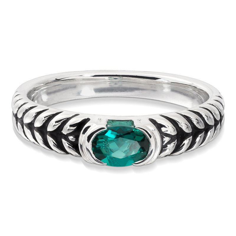 Colore SG Sterling Silver and Created Emerald Ring