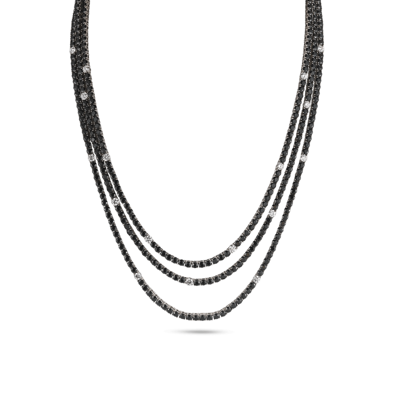 Roberto Coin 18Kt Gold Necklace With Diamonds And Sapphires